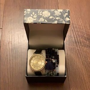 NIB Navy and gold watch with beaded bracelet set